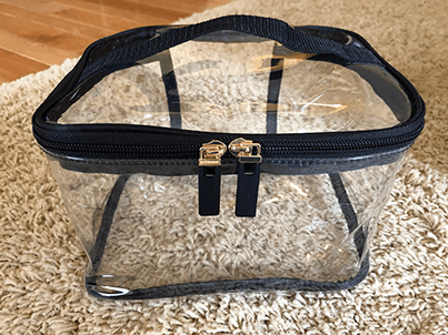 Clear toiletry bag for communal items!